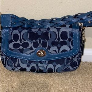 Coach blue small purse with braided leather handle
